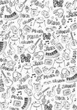 Предпосылка музыки с элементами doodle рук-притяжки также вектор иллюстрации притяжки corel иллюстрация штока