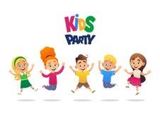 Предпосылка мультфильма партии детей со смешной компанией иллюстрации вектора мальчиков и девушек иллюстрация штока