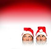 предпосылка над красными santas Стоковое Фото