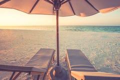 Предпосылка назначения перемещения лета Сцена пляжа лета, зонтик солнца кроватей солнца и пальмы стоковые изображения rf