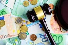 предпосылка наличных денег евро Куча различных банкнот евро, монеток Стоковое фото RF