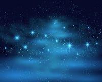Предпосылка неба космического космоса темная с голубым ярким сияющим межзвёздным облаком звезд на иллюстрации вектора ночи иллюстрация штока