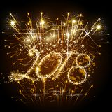 Предпосылка Нового Года вектора 2018 счастливая с золотым светом Стоковые Изображения RF
