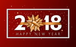 Предпосылка Нового Года вектора 2018 счастливая с золотым смычком подарка Стоковая Фотография RF