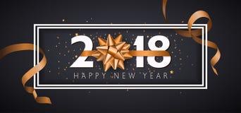 Предпосылка Нового Года вектора 2018 счастливая с золотым смычком подарка Стоковые Фото