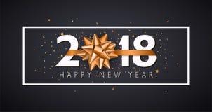 Предпосылка Нового Года вектора 2018 счастливая с золотым смычком подарка Стоковые Изображения