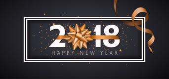 Предпосылка Нового Года вектора 2018 счастливая с золотым смычком подарка Стоковое Изображение RF