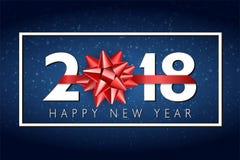 Предпосылка Нового Года вектора 2018 счастливая с красным смычком подарка Стоковые Фото