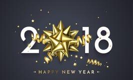 Предпосылка Нового Года подарка украшения вектора поздравительной открытки 2018 Новых Годов золотая иллюстрация штока