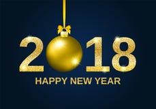 Предпосылка 2018 Нового Года яркого блеска золота счастливая Стоковые Изображения RF
