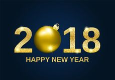 Предпосылка 2018 Нового Года яркого блеска золота счастливая Стоковое Изображение