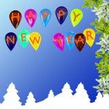 Предпосылка Новый Год праздничная с воздушными шарами Стоковые Фотографии RF