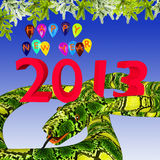 Предпосылка Новый Год праздничная с змейкой Стоковая Фотография RF