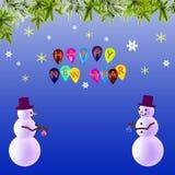 Предпосылка Новый Год праздничная с снеговиками Стоковое Изображение