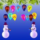 Предпосылка Новый Год праздничная с снеговиками Стоковые Изображения