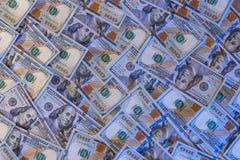 Предпосылка новых 100 долларовых банкнот Стоковое Изображение
