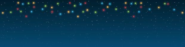 Предпосылка ночи снежная с сельдью панорама Стоковые Фото