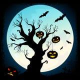 Предпосылка ночи хеллоуина с луной Стоковая Фотография RF