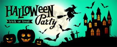 Предпосылка ночи хеллоуина с тыквой, домом и полнолунием Шаблон знамени или приглашения для партии хеллоуина Стоковое Изображение RF