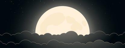 Предпосылка ночного неба с луной, звездами и облаками иллюстрация штока