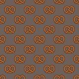 Предпосылка обоев вектора doodle закуски кренделя испеченная печеньем безшовной изолированная картиной Стоковое Изображение RF