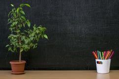 Предпосылка образования задняя школа принципиальной схемы к Таблица стола учителя или студента Стоковая Фотография
