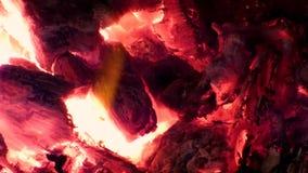 Предпосылка огня - накаленные докрасна накаляя угли внутри плиты акции видеоматериалы