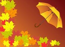 Предпосылка осени с зонтиком Стоковые Фотографии RF