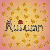 Предпосылка осени с нарисованным рукой словом осени и желтыми кленовыми листами и падения дождя на розовой предпосылке бесплатная иллюстрация