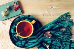 Предпосылка осени - чашка чаю, старая книга и теплый шарф на деревянной предпосылке жизнь осени все еще Стоковые Изображения