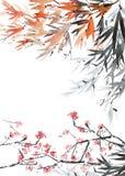 Предпосылка открытки с деревом цветения Стоковое Изображение