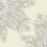 Предпосылка от винтажного абстрактного флористического орнамента в беже Стоковое Изображение