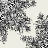 Предпосылка от винтажного абстрактного флористического орнамента черным по белому Стоковые Фотографии RF