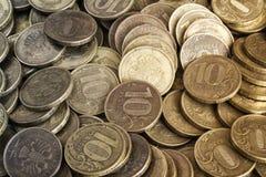 Предпосылка от монеток 10-рубля Стоковое Фото