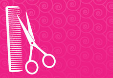 Предпосылка парикмахерскаи с ножницами и гребнем Стоковые Изображения RF