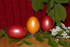 Предпосылка пасхи с красочными яичками и цветком Стоковые Фото