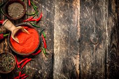 Предпосылка перца Разные виды перца chili Стоковое Изображение RF