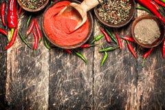 Предпосылка перца Разные виды перца chili Стоковая Фотография