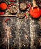 Предпосылка перца Разные виды перца chili Стоковые Фотографии RF