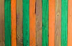 Предпосылка пестротканых деревянных доск Загородка цвета Стоковая Фотография