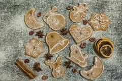 Предпосылка печений пряника выпечки рождества Стоковые Изображения