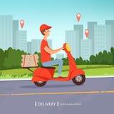 Предпосылка пиццы поставки Обслуживания предприятий мотоцикла работника доставляющего покупки на дом свежих продуктов ландшафт бы иллюстрация вектора
