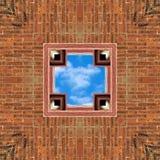 Предпосылка плитки кирпича и неба безшовная стоковая фотография