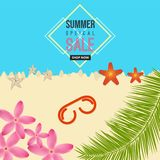 Предпосылка пляжа моря особенной продажи лета с цветком, солнц-стеклом, морской звёздой, элементами кокосовой пальмы иллюстрация вектора