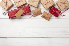 Предпосылка подарочных коробок рождества Стоковое фото RF
