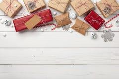 Предпосылка подарочных коробок рождества Стоковые Изображения