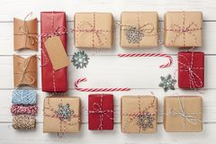 Предпосылка подарочных коробок рождества Стоковые Фото