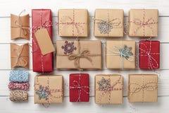 Предпосылка подарочных коробок рождества Стоковое Фото