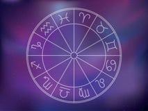 предпосылка подписывает зодиак Астрологическое круглое собрание календаря Стоковые Фото
