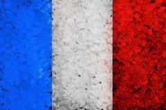 Предпосылка покрашенная Grunge с флагом француза Стоковая Фотография